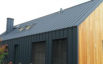 Futurystyczny dom z dachem i elewacją z blachy Batex łączonej na klik